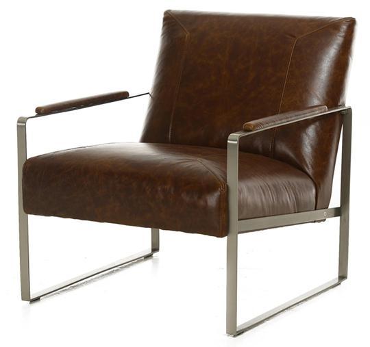 Vintage Tobacco Metal/Leather Chair