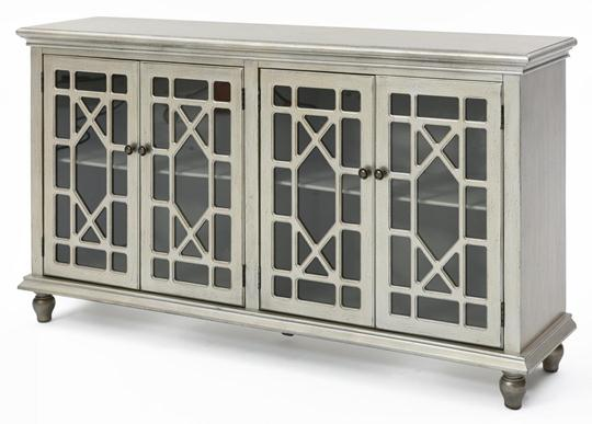 Chippendale Media Cabinet, Metallic Champagne