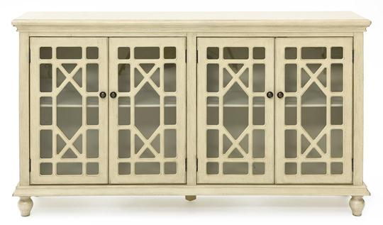 Chippendale Media Credenza, Antique White