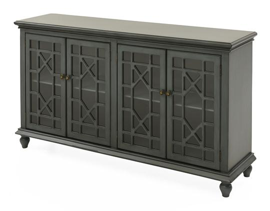 Chippendale Media Cabinet, Slate Blue