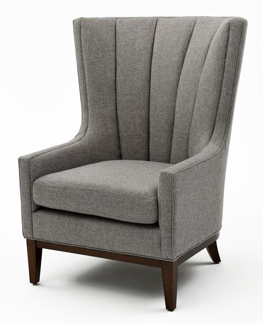 Channeled Wing Chair, Pewter