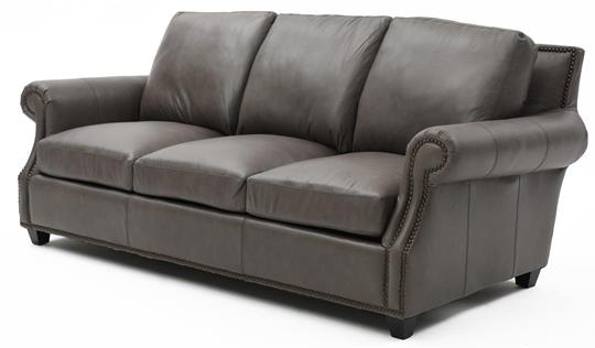 Transitional Gray Leather Sofa