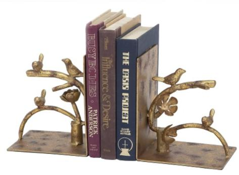 Antique Gold Nesting Bird Bookends, Set of 2